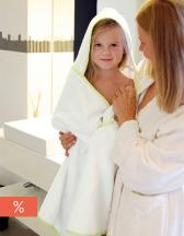 Piped Border Baby Towel With Hood Velour